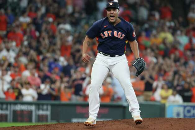 Houston Astros relief pitcher Andre Scrubb reacts after striking out San Diego Padres center fielder Jorge Mateo during the ninth inning of a major league baseball game to close out the Astros 7-4 win Sunday, May 30, 2021, at Minute Maid Park in Houston. Photo: Brett Coomer, Staff Photographer / © 2021 Houston Chronicle