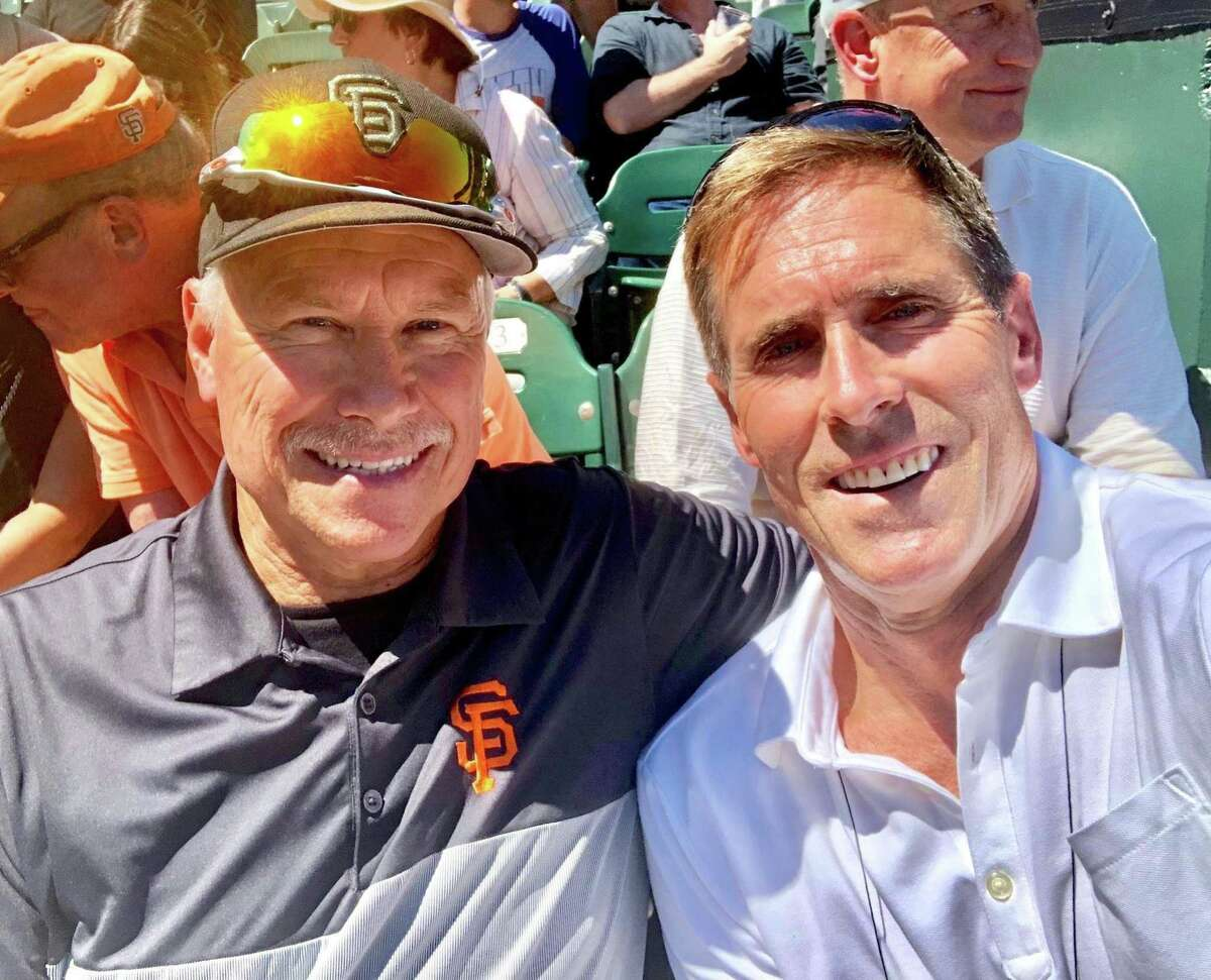 Kevin Heller (R), who served on the Lou Gehrig Day Committee, poses for a photo with Mike Crawford (L), father of San Francisco Giants shortstop Brandon Crawford. (Photo Courtesy of the Heller Family)