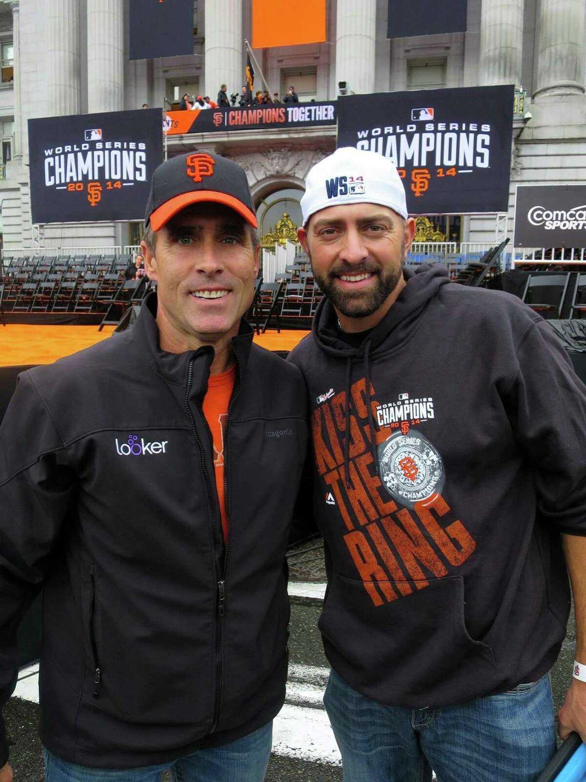 Kevin Heller (L), who served on the Lou Gehrig Day Committee, poses for a photo with former San Francisco Giants pitcher Jeremy Affeldt. (Photo Courtesy of the Heller Family)