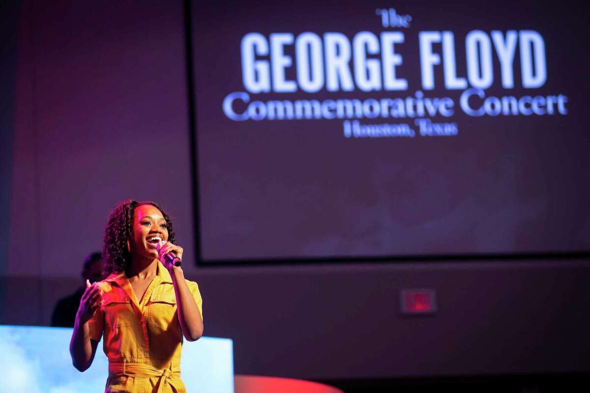 Poet, singer and dancer Jaicei performs during a commemorative concert hosted by the George Floyd Foundation at Fountain of Praise church on Sunday, May 30, 2021. Musicians, elected officials and community members joined the family of George Floyd to reflect on his life and the year of fighting for social justice since his murder.