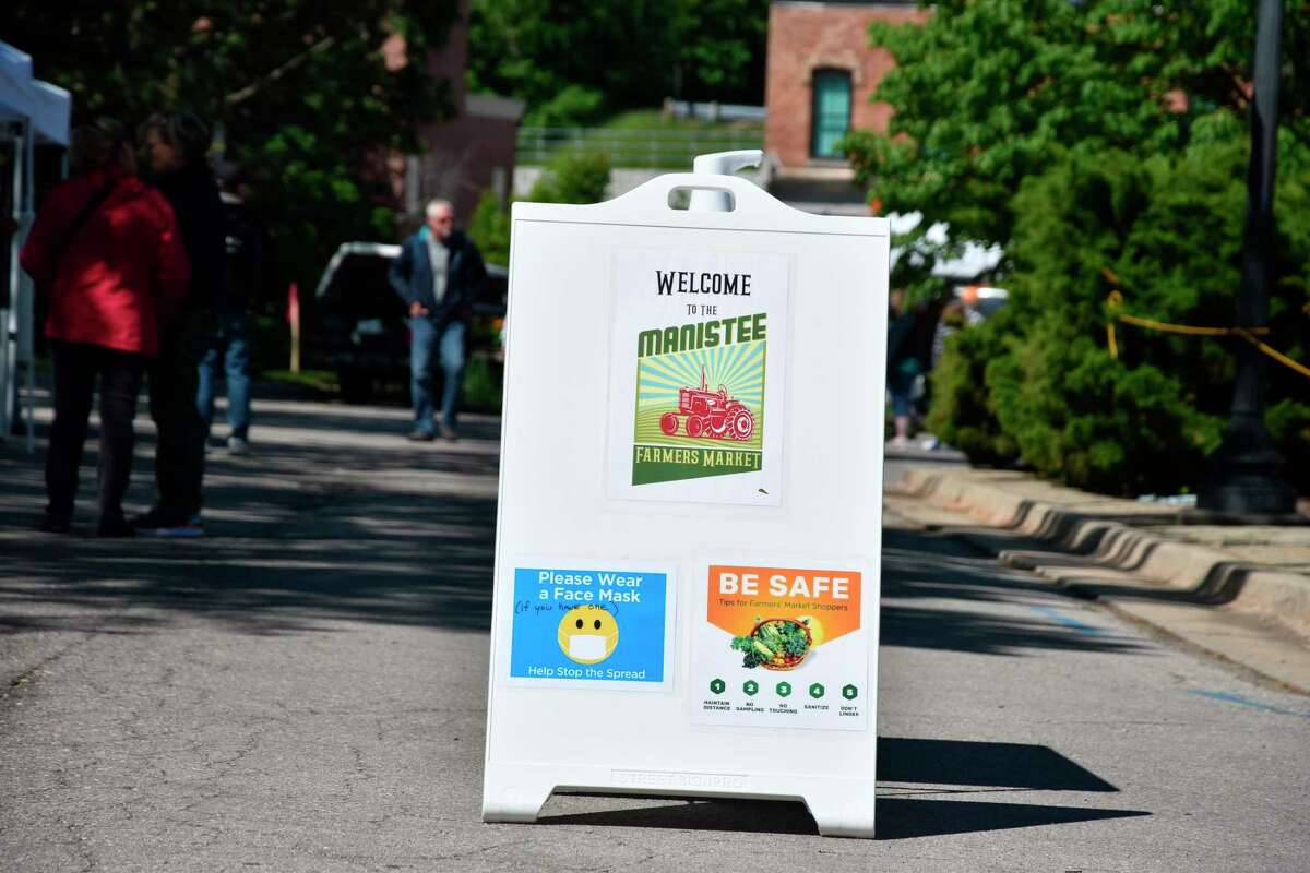 """""""We're still trying to follow COVID safety precautions: asking people to wear a mask ... We're asking our vendors to wear them just to err on the side of caution,"""" said Manistee Farmers Market Manager DeGeorgio-Venegas. (Arielle Breen/News Advocate)"""