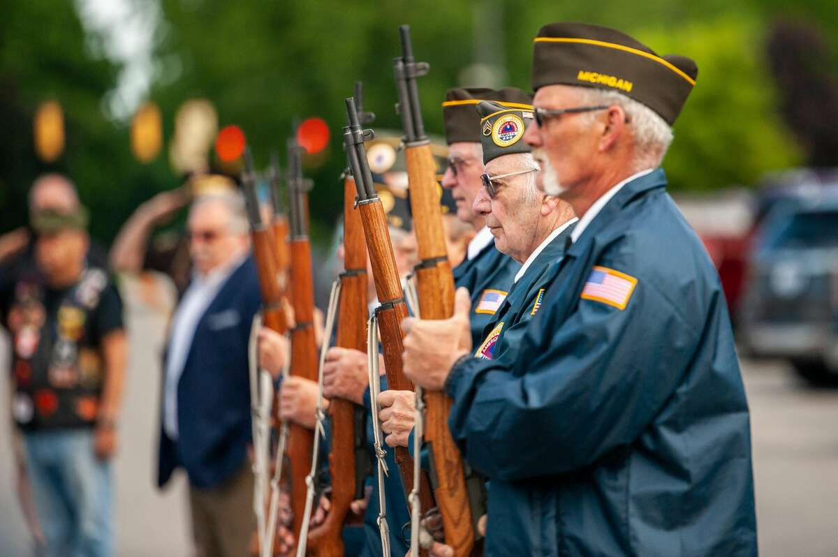 FILE - Veterans and Midland residents gather in front of the Midland County Veterans Memorial on May 31, 2021.