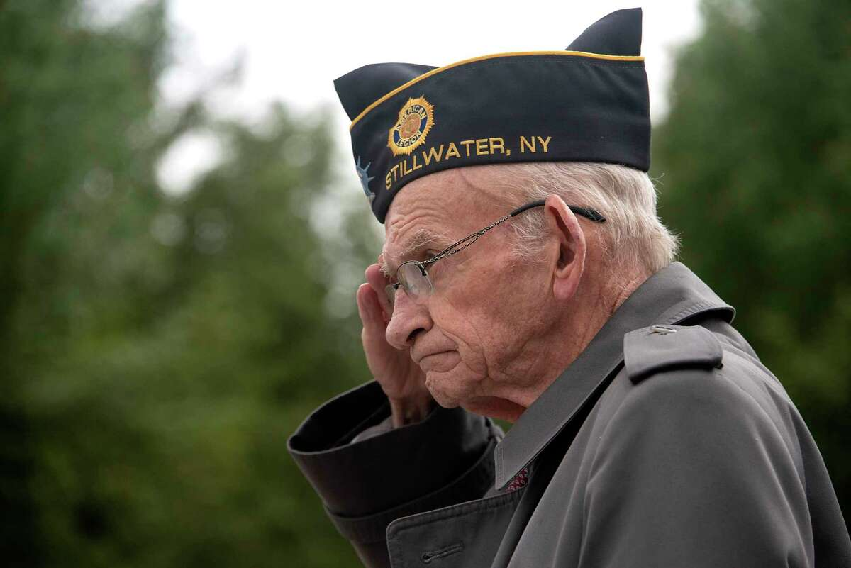 Cemetery Support Committee Chairman John Mehan of Stillwater salutes after having the honor of placing the wreath at a Memorial Day wreath laying ceremony at Saratoga National Cemetery on Monday, May 31, 2021 in Schuylerville, N.Y. (Lori Van Buren/Times Union)