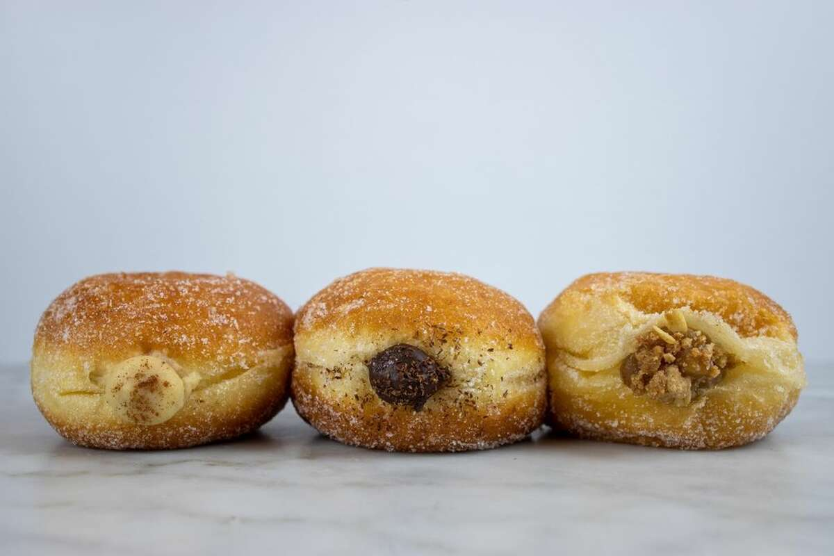 Brioche doughnuts from The Flour Box: Apple Streusel, Chocolate Peppermint and Eggnog