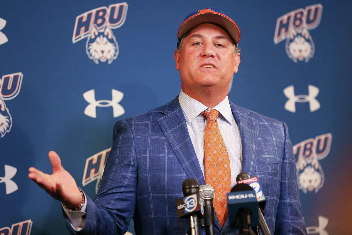Former Astro Lance Berkman talks to the media after being named Houston Baptist University's new baseball coach in Houston on Monday, May 31, 2021.