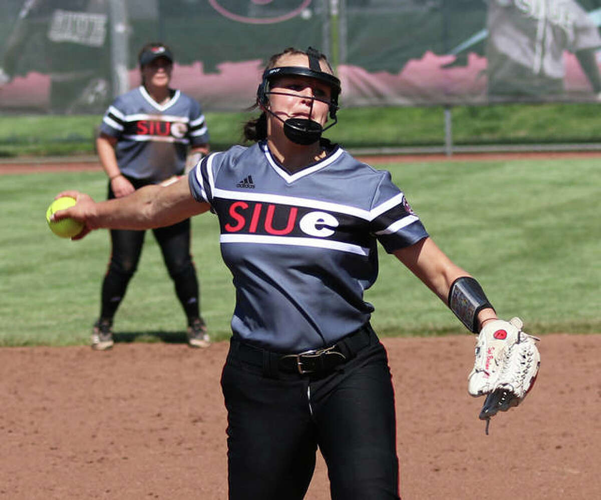 SIUE's Sydney Baalman pitches during a start earlier this season at Cougar Field in Edwardsville. She finished her freshman season with a 10-9 record after winning her last six starts.