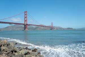 Golden Gate Bridge viewed from near Fort Point, San Francisco, California, June 28, 2020. (Photo by Smith Collection/Gado/Getty Images)