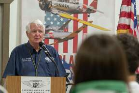 Col. Greg Gutting, with High Sky Wing, talks about the history of Memorial Day during an open house, lunch and Memorial Day Observance 5/31/2021 at the CAF, Commemorative Air Force Museum. Tim Fischer/Reporter-Telegram