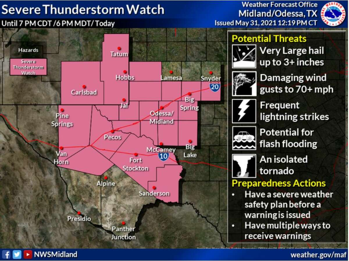 A Severe Thunderstorm Watch has been issued for southeastern New Mexico and much of the Permian Basin and Trans Pecos region through late this afternoon. Large hail, damaging winds, and an isolated tornado will be possible.
