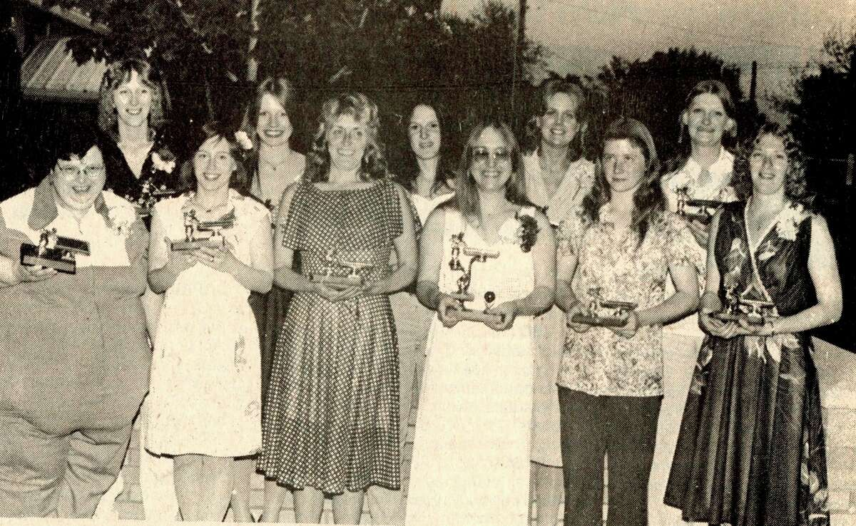 The top 10 women in the local pool league are pictured after a recent awards banquet. (from left, front row) Sue Gumieny, Angie Tetzlaff, Geraldine Peasley, Bobby Woodin, Debbie Gutowski and Linda Young. (From left, back row) Sue Courteau, Sue Hansen, Gay Desarmeaux, Karen Goslinoski and Jean Christensen. The photo was published in the News Advocate on June 2, 1981. (Manistee County Historical Museum photo)