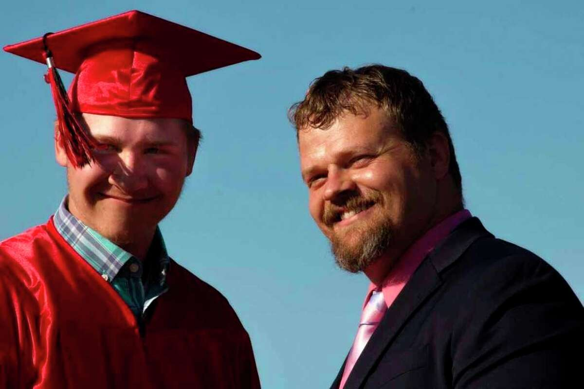 Ascent High School principal Russ Clark at the school's 2020 graduation. Clark will become the Bad Axe Elementary School's principal in the upcoming school year. (Tribune File Photo)