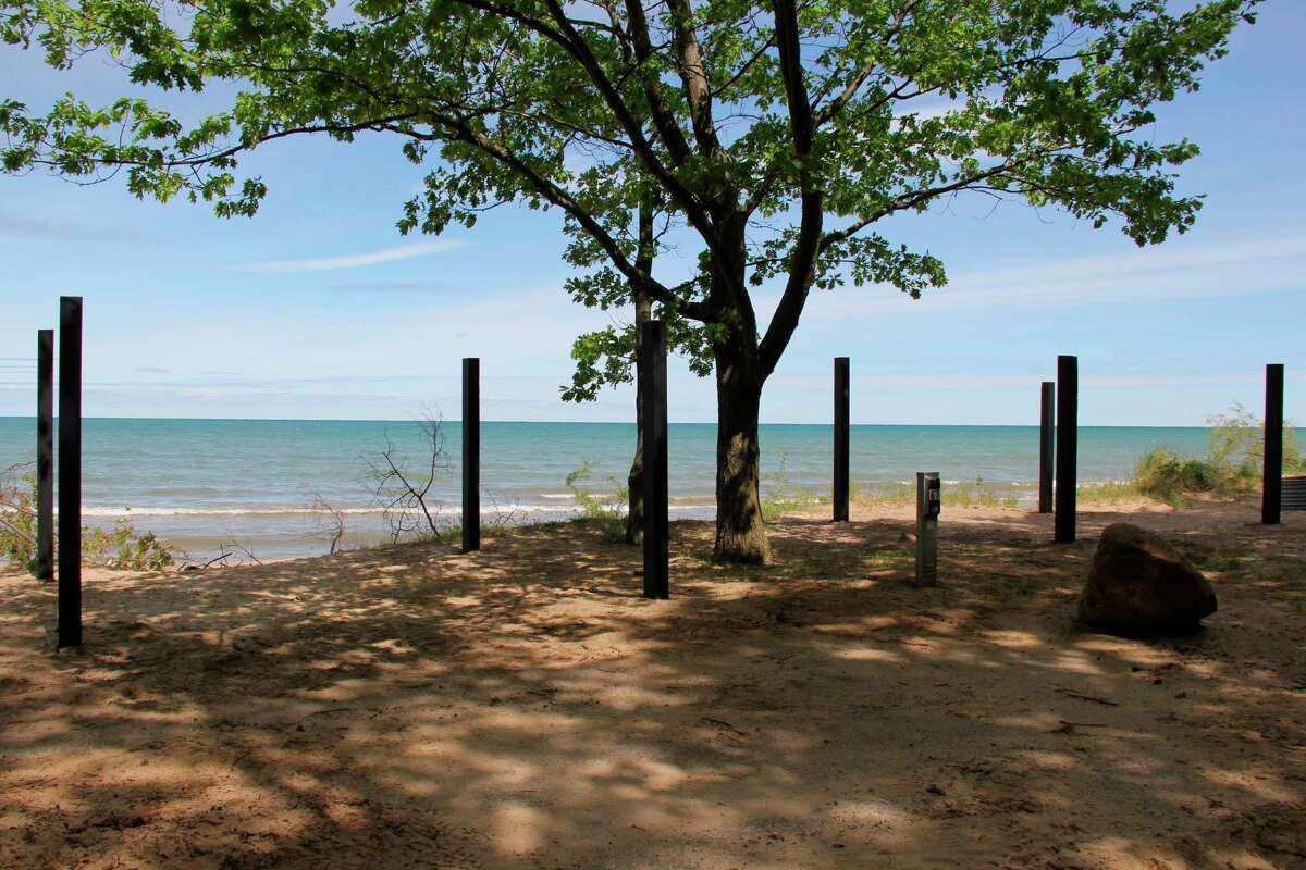 The two hammock-only campsites at Port Crescent State Park. The two sites went over to hammock-only due to shoreline erosion, which made them unsuitable for campers. (Robert Creenan/Huron Daily Tribune)