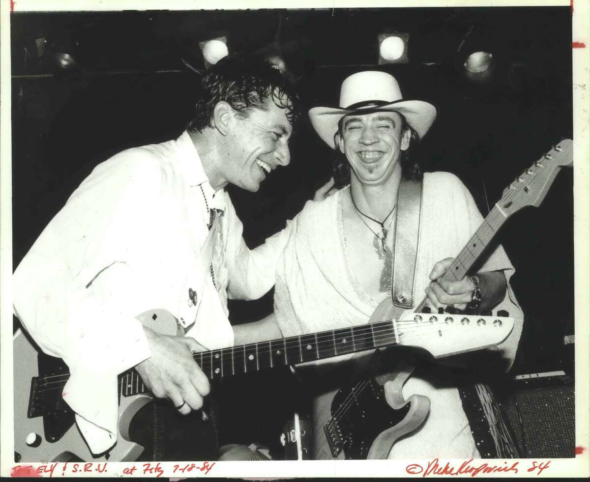 Guitarist Stevie Ray Vaughan, right, at Fitzgerald's with Joe Ely.