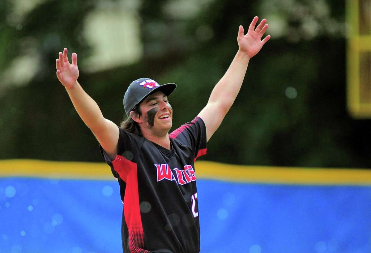 Fairfield Warde pitcher Zachery Broderick celebrates after throwing a four hit shutout against Greenwich during FCIAC baseball championship action in Stamford, Conn., on Friday May 28, 2021.