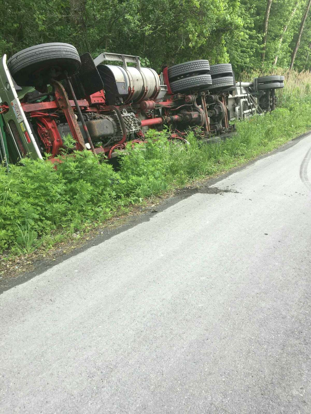 Tanker truck hauling jet fuel rolled over on American Oil Road at the Port of Rensselaer in East Greenbush at about 2 p.m. Monday May 31,2021.
