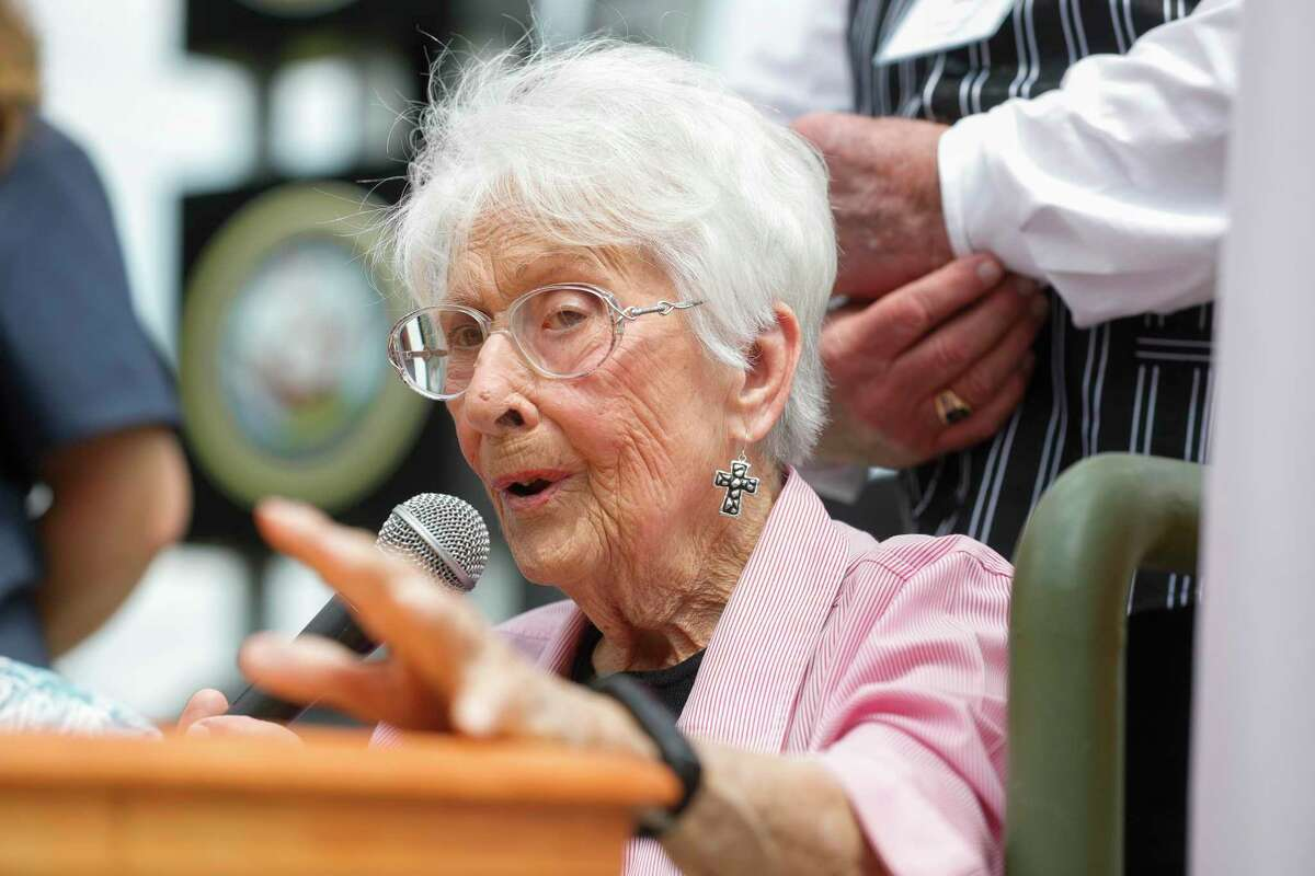 Celeste Graves, 101, of Magnolia speaks about her time as a radio operator for in Houston-based Women Air Force Service Pilots during a Memorial Day ceremony on Monday.