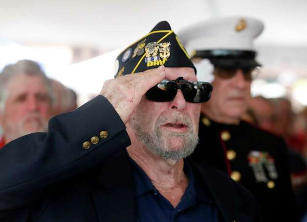 Vietnam veteran Ron Haket salutes during a Memorial Day ceremony at the Montgomery County Veteran's Memorial Park, Monday, May 31, 2021, in Conroe. Photo: Jason Fochtman, Houston Chronicle / Staff Photographer / 2021 © Houston Chronicle