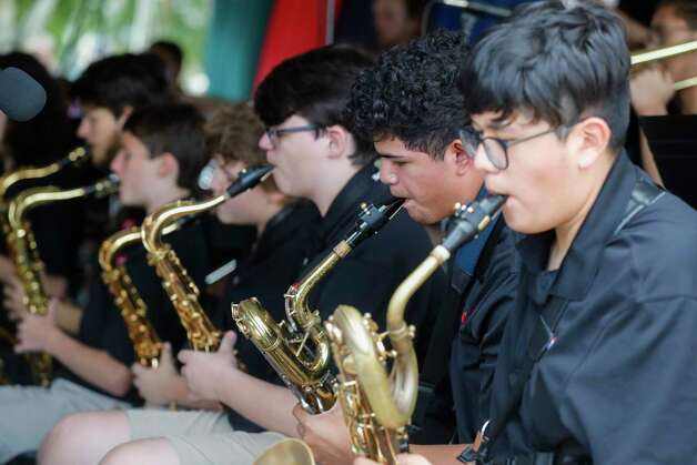 Members of Jazz Connection perform during a Memorial Day ceremony at the Montgomery County Veteran's Memorial Park, Monday, May 31, 2021, in Conroe. Photo: Jason Fochtman, Houston Chronicle / Staff Photographer / 2021 © Houston Chronicle