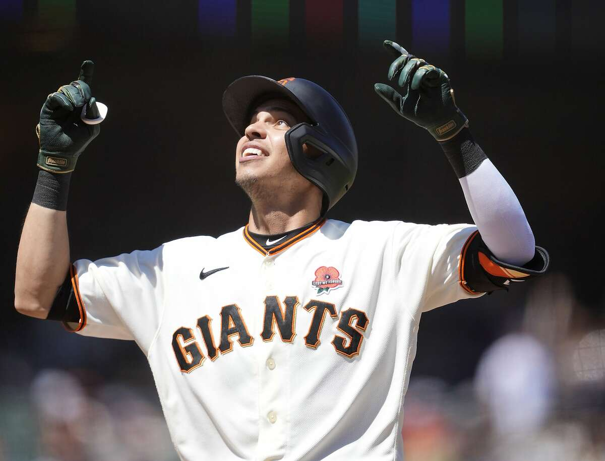 San Francisco Giants' Mauricio Dubon points skyward after hitting a solo home run against the Los Angeles Angels during the sixth inning of a baseball game Monday, May 31, 2021, in San Francisco. (AP Photo/Tony Avelar)