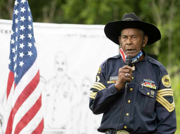 Sgt. Major James Williams, with the Buffalo Soldiers Museum, speaks during the 4th Annual Memorial Day Celebration at the Sweet Rest Cemetery, Monday, May 31, 2021, in Tamina. The cemetery was officially designated as a historical area after a nine-month long process led by the The Tamina Cemetery and Community Project CDC. Photo: Gustavo Huerta, Houston Chronicle / Staff Photographer / Houston Chronicle © 2021