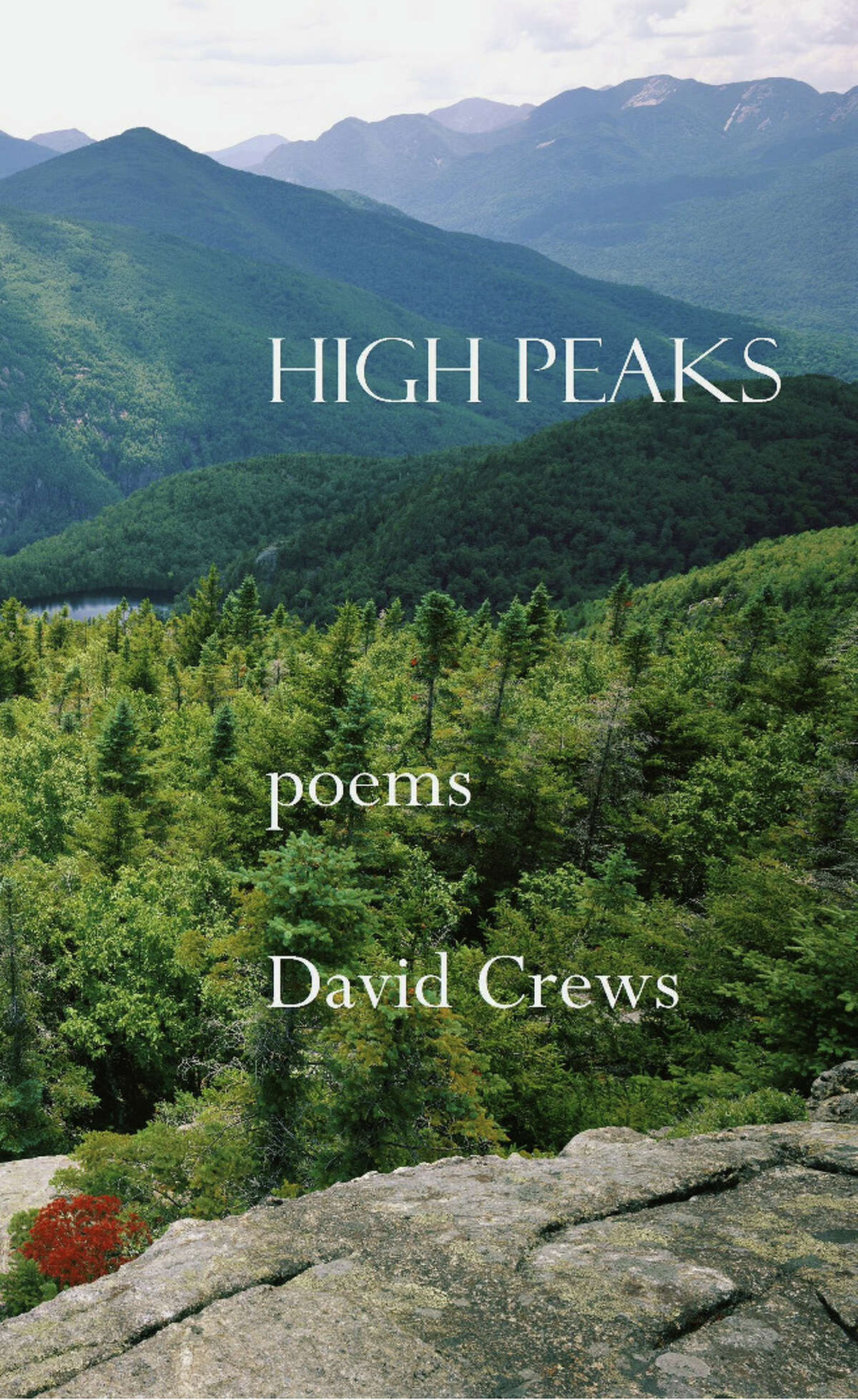 """Cover art for """"High Peaks,"""" a book of poems about the Adirondacks by David Crews."""