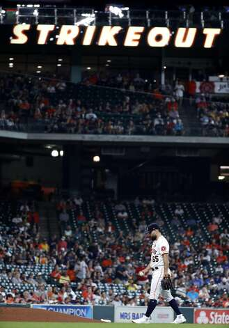 Houston Astros starting pitcher Jose Urquidy (65) after striking out Boston Red Sox Alex Verdugo during the fourth inning of an MLB baseball game at Minute Maid Park, Monday, May 31, 2021, in Houston. Photo: Karen Warren/Staff Photographer / @2021 Houston Chronicle