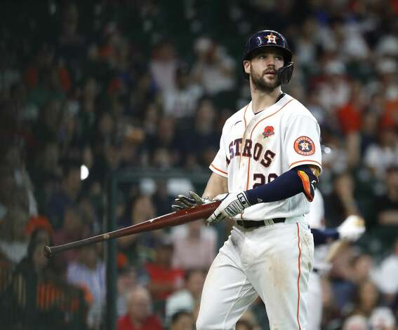 Houston Astros Chas McCormick (20) reacts after striking out against Boston Red Sox starting pitcher Eduardo Rodriguez during the fifth inning of an MLB baseball game at Minute Maid Park, Monday, May 31, 2021, in Houston. Photo: Karen Warren/Staff Photographer / @2021 Houston Chronicle