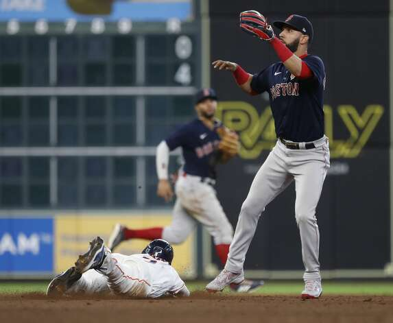 Houston Astros Myles Straw (3) steals second base from Boston Red Sox second baseman Marwin Gonzalez (12) during the sixth inning of an MLB baseball game at Minute Maid Park, Monday, May 31, 2021, in Houston. Photo: Karen Warren/Staff Photographer / @2021 Houston Chronicle