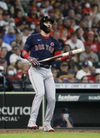 Boston Red Sox Marwin Gonzalez (12) reacts after striking out against Houston Astros starting pitcher Jose Urquidy during the third inning of an MLB baseball game at Minute Maid Park, Monday, May 31, 2021, in Houston. Photo: Karen Warren/Staff Photographer / @2021 Houston Chronicle