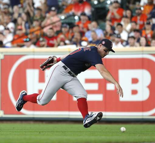 Boston Red Sox right fielder Hunter Renfroe (10) chases Houston Astros Kyle Tucker's single during the second inning of an MLB baseball game at Minute Maid Park, Monday, May 31, 2021, in Houston. Photo: Karen Warren/Staff Photographer / @2021 Houston Chronicle