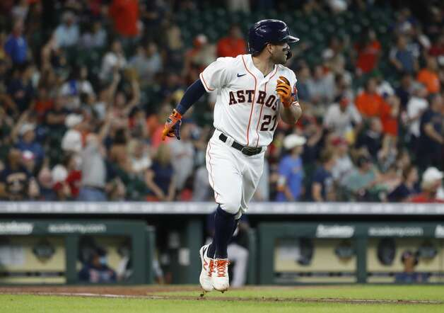 Houston Astros Jose Altuve (27) runs the bases after hitting a two-run home run during the third inning of an MLB baseball game at Minute Maid Park, Monday, May 31, 2021, in Houston. Photo: Karen Warren/Staff Photographer / @2021 Houston Chronicle