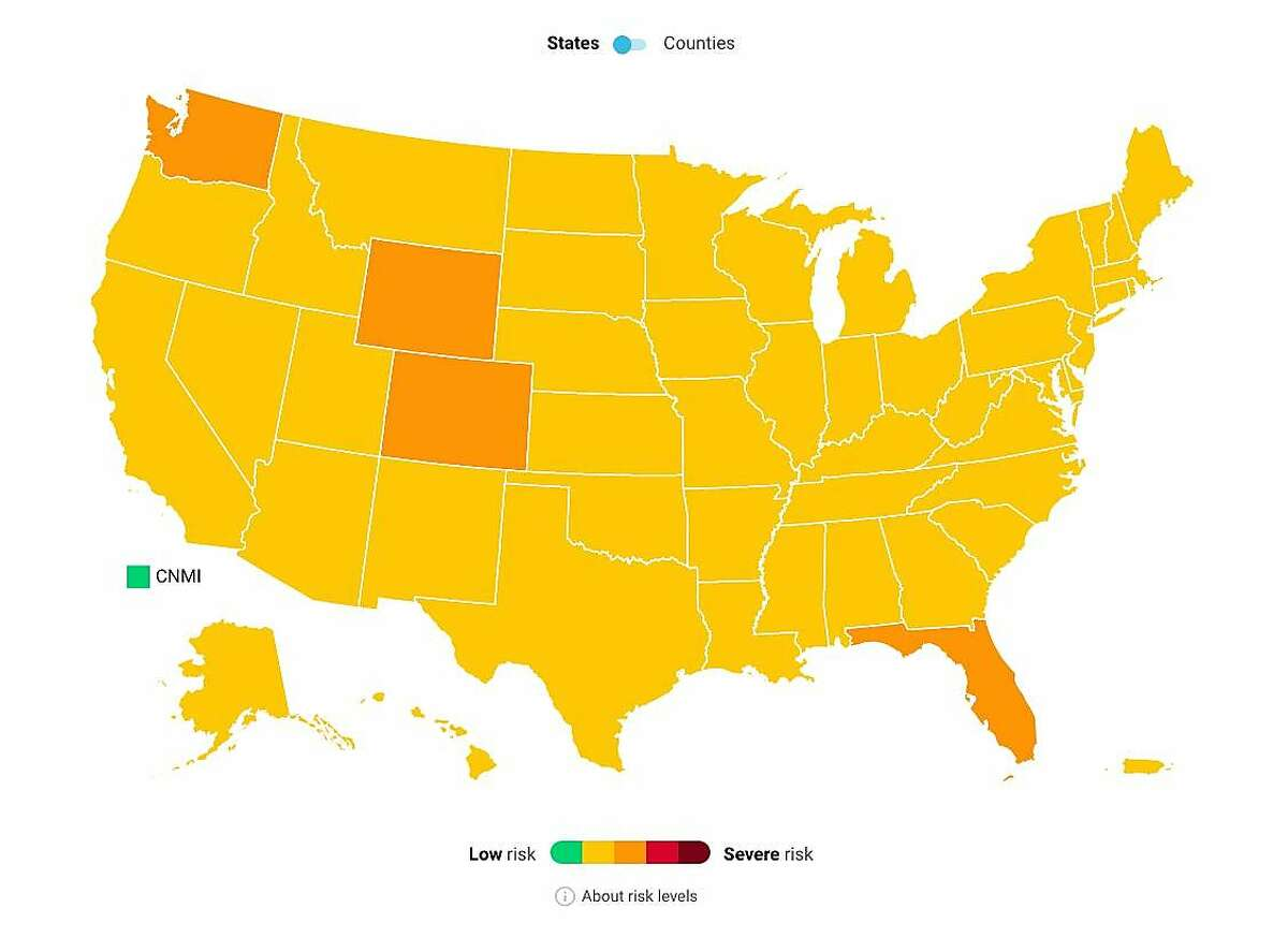The COVID Act Now map shows risk levels for U.S. states on Monday, May 31, 2021.