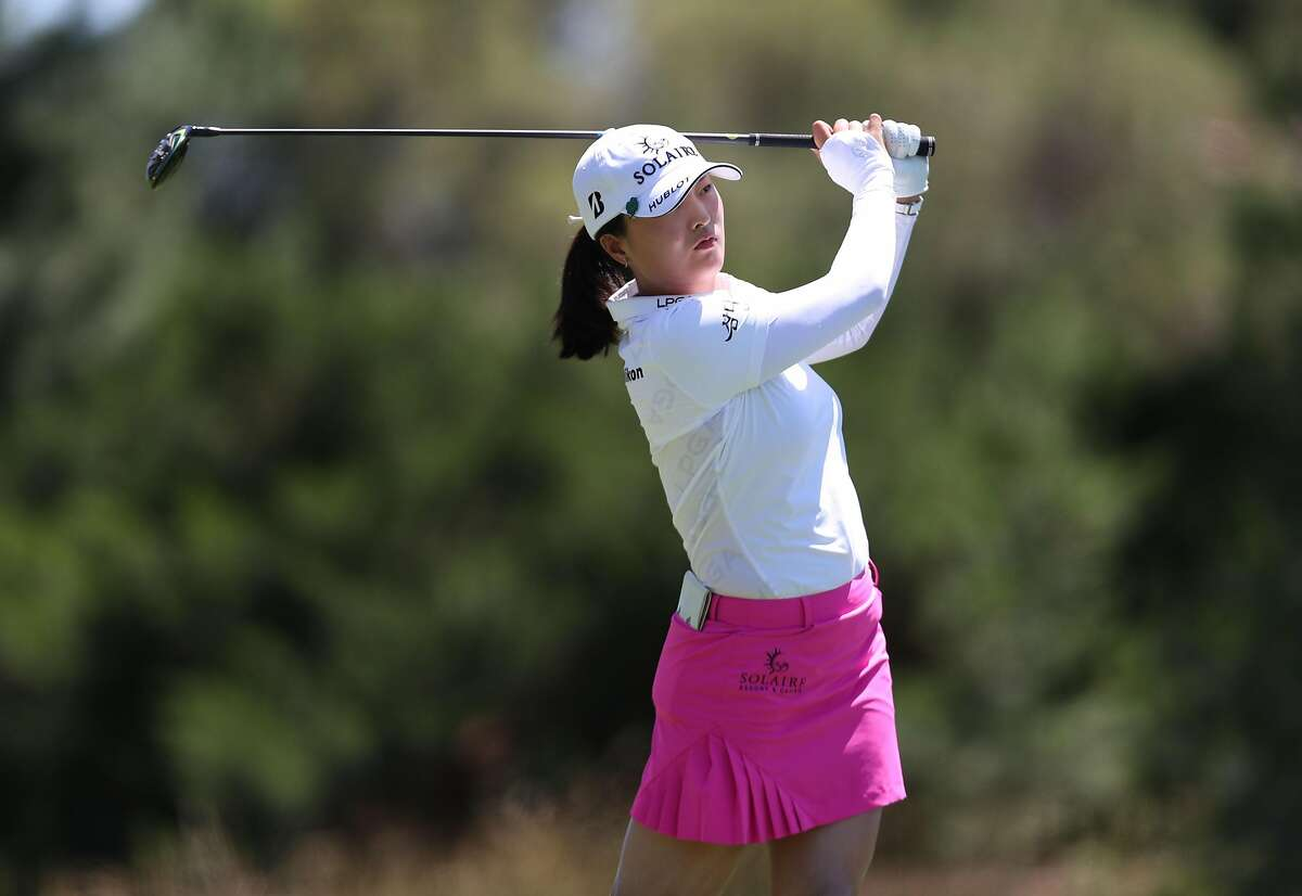 Jin Young Ko of South Korea tees off during round three of the Bank of Hope Match-Play at Shadow Creek on May 28, 2021 in Las Vegas.