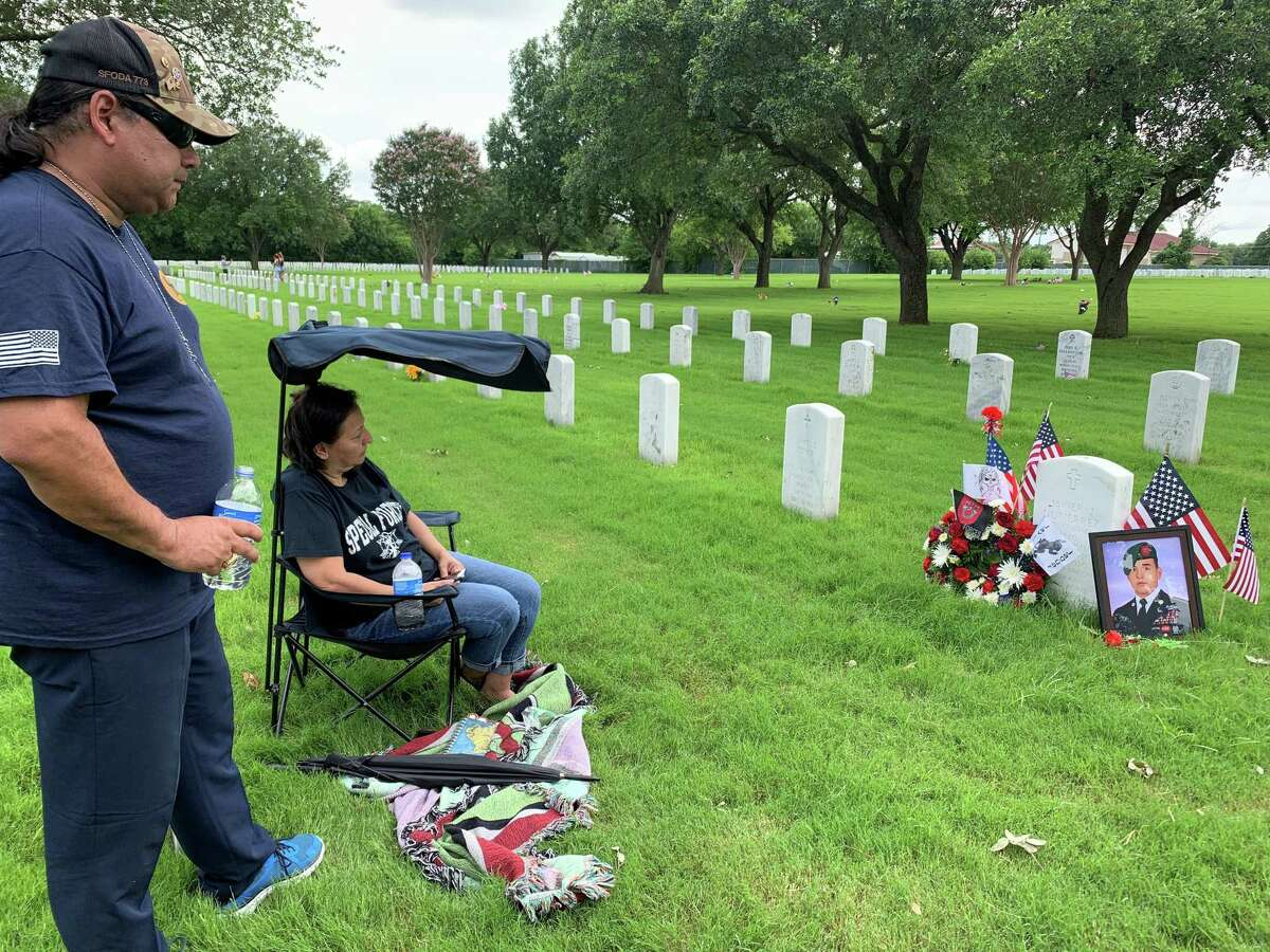 Javier and Sylvia Gutierrez spend Memorial Day at Fort Sam Houston National Cemetery so they can be near their son Javier Jaguar Gutierrez, who died Feb. 8, 2020 during an ambush in Afghanistan. Their son was serving with the 7th Special Forces Group as a senior radio operator when he was killed.