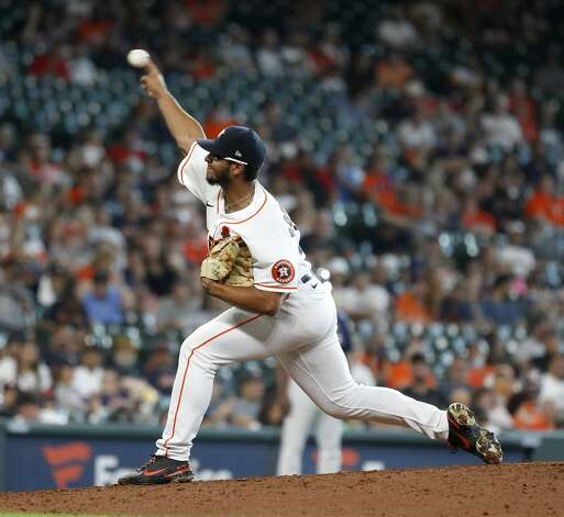 Houston Astros relief pitcher Nivaldo Rodriguez (68) pitches during the eighth inning of an MLB baseball game at Minute Maid Park, Monday, May 31, 2021, in Houston. Photo: Karen Warren/Staff Photographer / @2021 Houston Chronicle