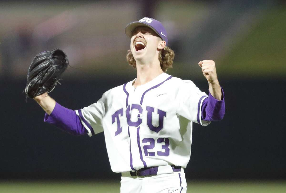 TCU pitcher Haylen Green (23) celebrates after striking out Oklahoma State to win the game during the NCAA Big 12 baseball championship game in Oklahoma City on Sunday, May 30, 2021. (AP Photo/Alonzo Adams)