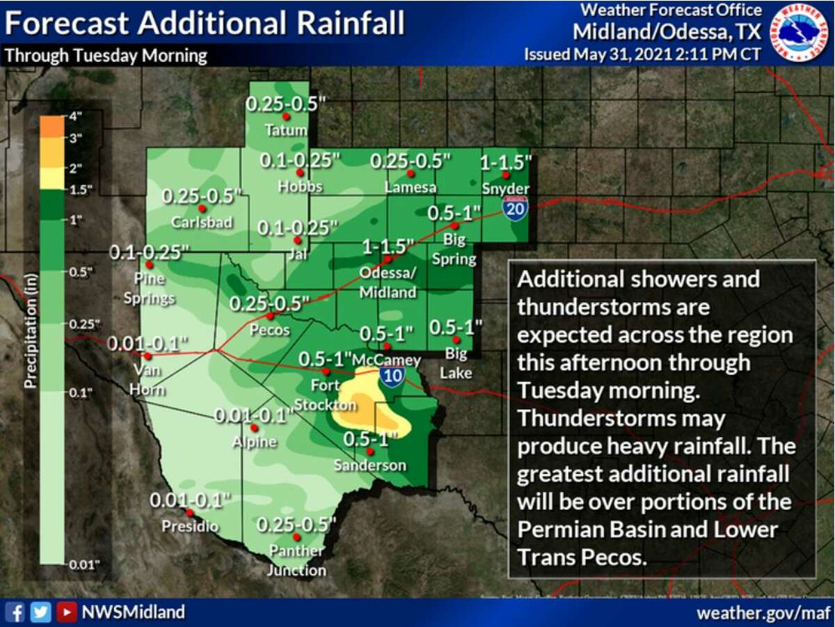 Showers and thunderstorms will produce additional rainfall through Tuesday morning. Rainfall could become heavy at times. The greatest additional rainfall will be over portions of the Permian Basin and Lower Trans Pecos.