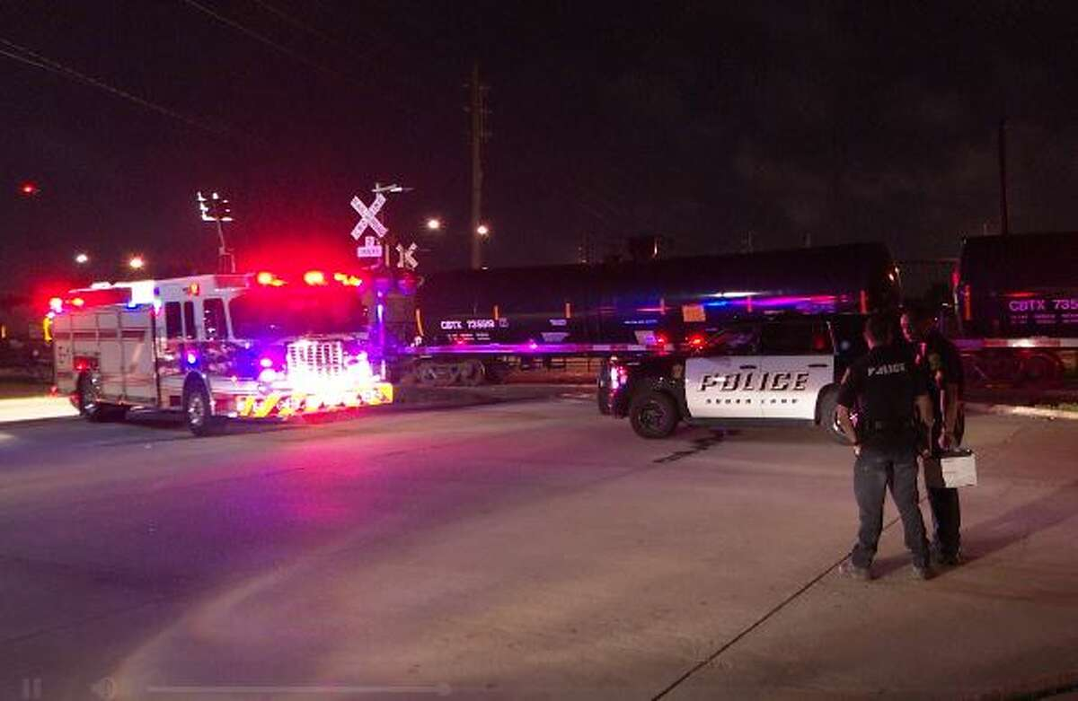 A motorcyclist died in a fiery crash after colliding with a train late Monday night in Sugar Land, according to police.