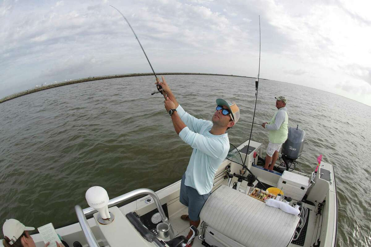 Researcher Sepp Haukebo and Captain L.G. Boyd fish so they can test them for toxins, part of a wider project looking at what pollution is flowing into the bay Friday, May 28, 2021, in Texas City.