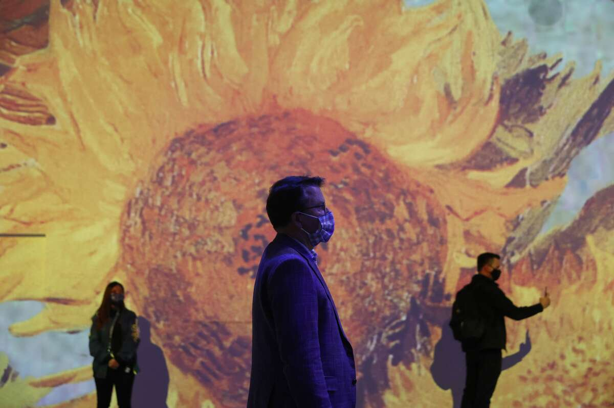 Guests view the Immersive Van Gogh Exhibit during a media preview at SVN West on March 16, 2021 in San Francisco, California.