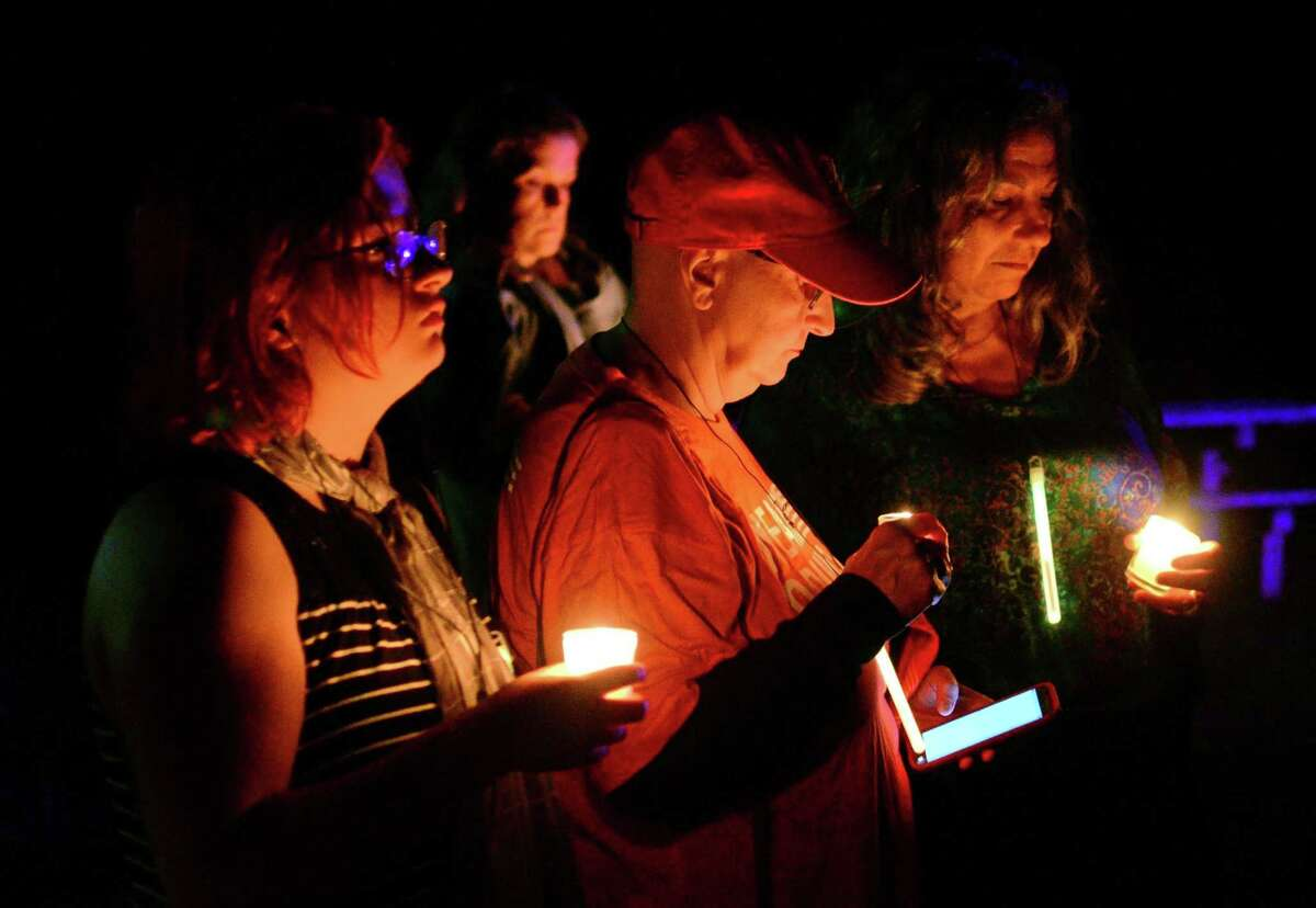 Participants in a vigil held by CT Against Gun Violence in Fairfield in 2017.