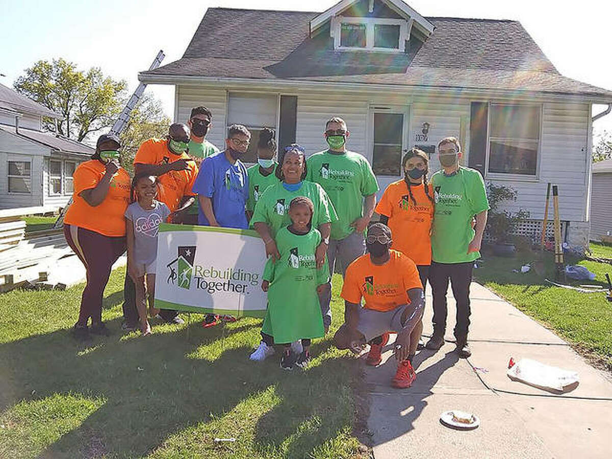 A group of volunteers from Scott Air Force Base recently helped members of Rebuilding Together Southwest Illinois to build a wheelchair ramp in Edwardsville.