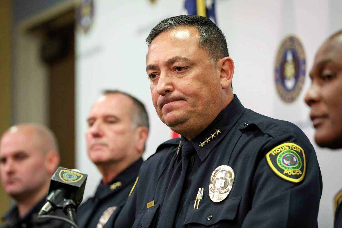 Houston Police Chief Art Acevedo speaks during a press conference at HPD headquarters on Wednesday, Nov. 20, 2019, in Houston. Former HPD officers Gerald Goines and Steven Bryant, along with Patricia Garcia, a neighbor of Dennis Tuttle and Rhogena Nicholas, were taken into custody today and charged with a variety of federal crimes.