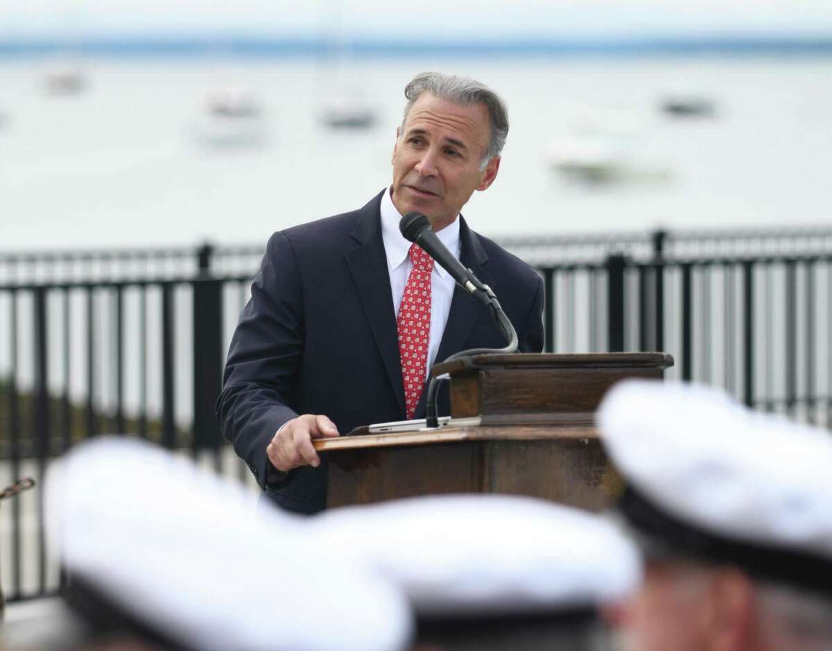 Greenwich First Selectman Fred Camillo speaks during the Greenwich American Legion Post No. 29 Memorial Day Dockside Ceremony at the Indian Harbor Yacht Cub in Greenwich, Conn. Monday, May 31, 2021.