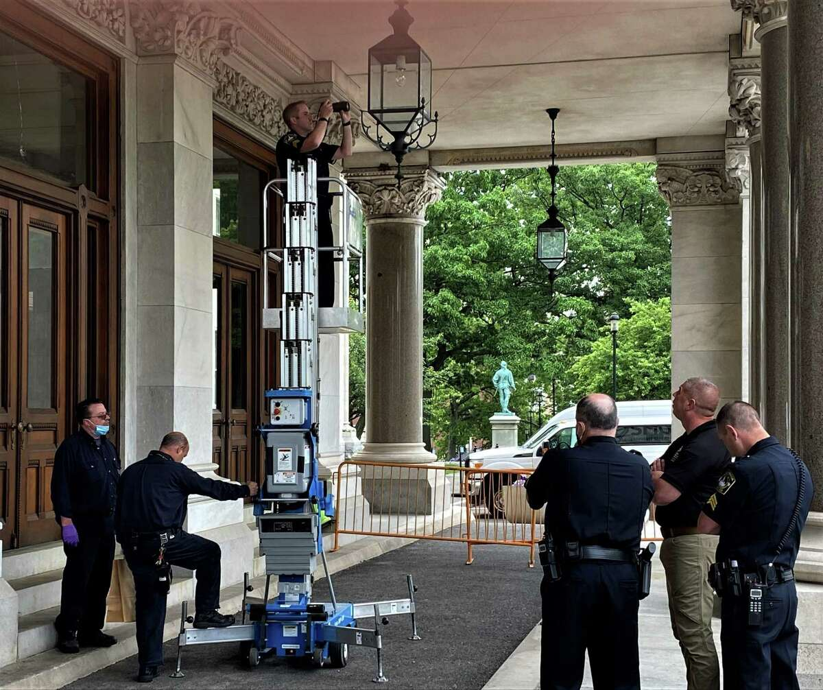 State Capitol police found at least three bullet holes on the morning of June 1, 2021 at the Capitol's south portico in Hartford, Conn. Investigators are working to figure out when the bullets were fired, and who shot them.