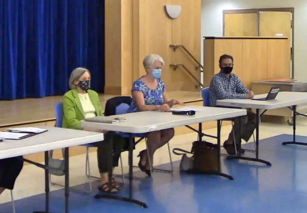 The Board of Selectmen during New Fairfield's town budget meeting in the Meeting House Hill School multipurpose room on May 27, 2021.