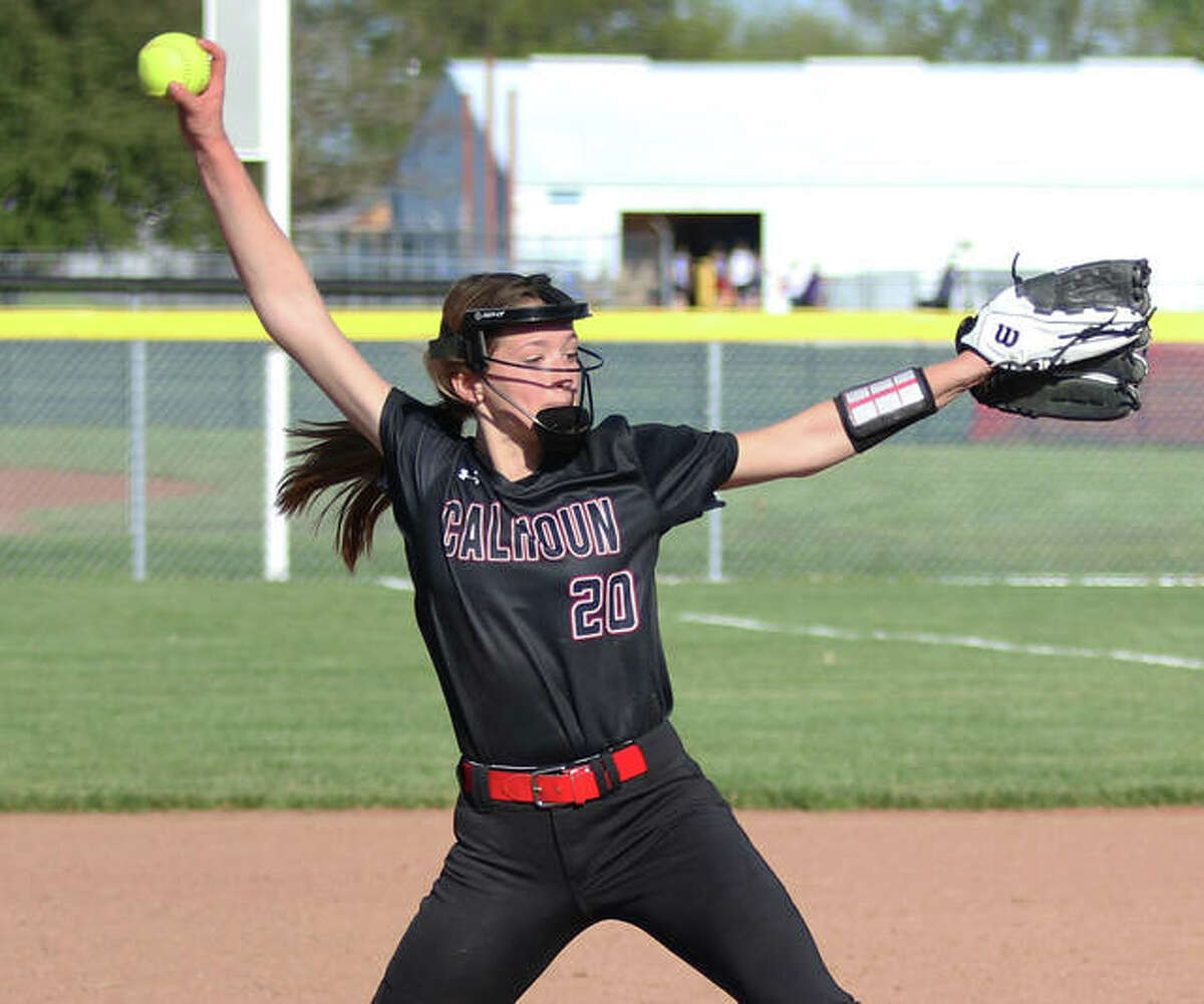 Calhoun's Kylie Angel, shown pitching in a game earlier this season at Jerseyville, struck out nine and walked one in Monday's 6-1 win over West Central.