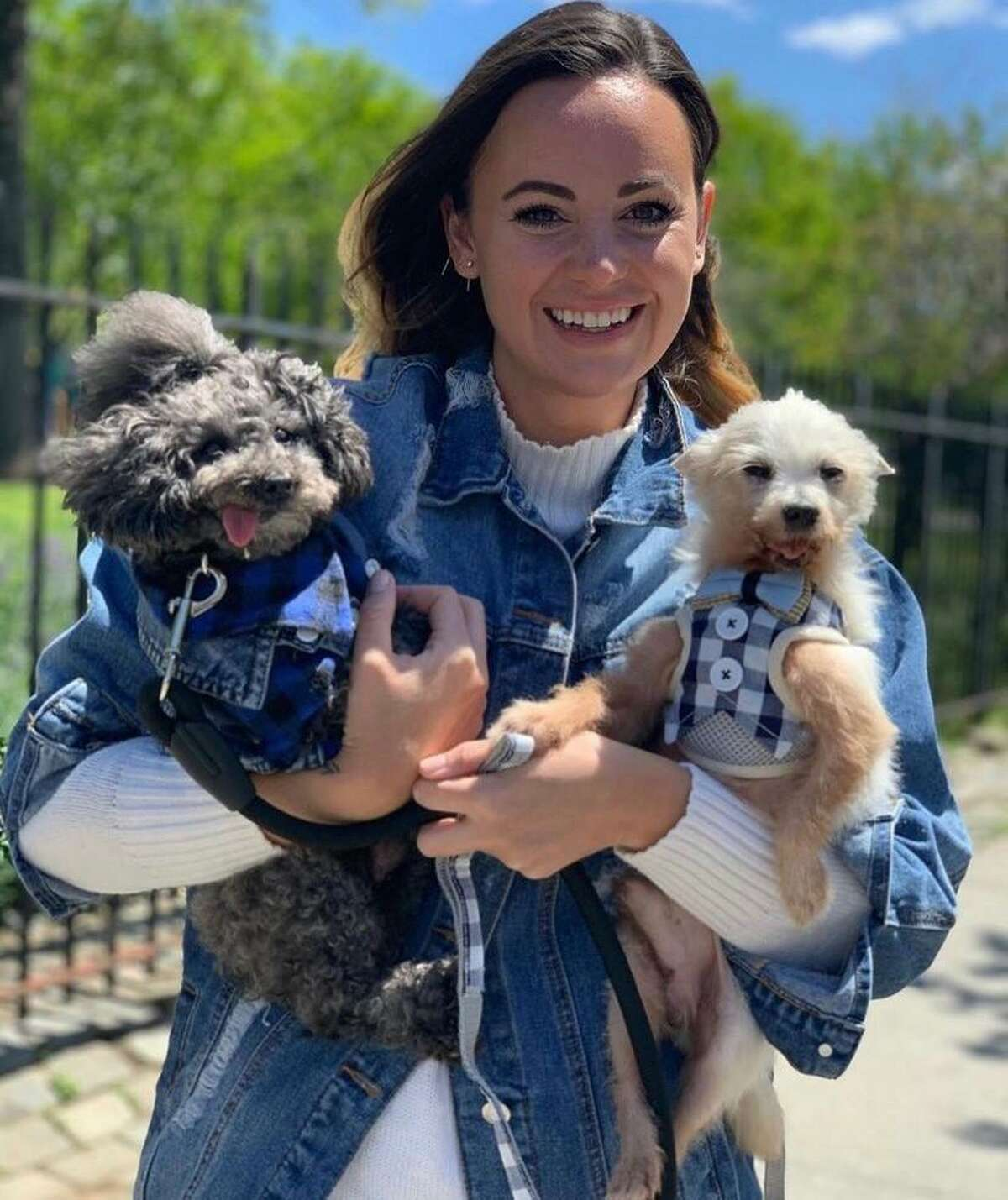 Torrington native Liz Harris with her senior dogs, Aldous, 17, a toy poodle, and Rooney, 15, a Maltese.