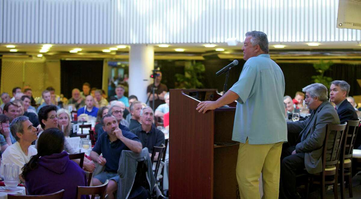 Rick Cerone, the featured guest speaker at the Danbury Westerners 20th annual celebrity breakfast held at the Matrix Conference & Banquet Center, in Danbury, Conn, on Friday morning, June 6, 2014. Cerone is a former Major League baseball catcher, who played for a number of teams from 1975 to 1992, including the New York Mets and Yankees.