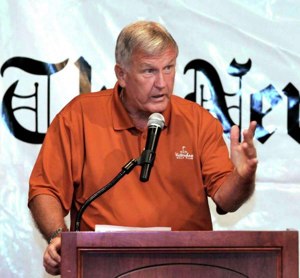 Tommy John, former Major League Baseball pitcher, spoke at the Danbury Westerners annual Celebrity Breakfast in 2010.